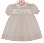 "<img src=""http://site.grammies-attic.com/images/blue-sold-1.gif""> NEW Petit Ami Pink Smocked Dress with Embroidered Bunnies and Matching Diaper Cover"