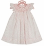 NEW Petit Ami Pink Toile Bishop Smocked Dress with Seed Pearls and Angel Sleeves