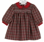 "<img src=""https://p11.secure.hostingprod.com/@grammies-attic.com/ssl/images/blue-sold-1.gif""> NEW Petit Ami Red and Green Plaid Smocked Dress with Red Pinwale Corduroy Collar and Cuffs and Matching Diaper Cover"