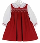 NEW Petit Ami Red Cotton Corduroy Smocked Jumper, Blouse, and Diaper Cover
