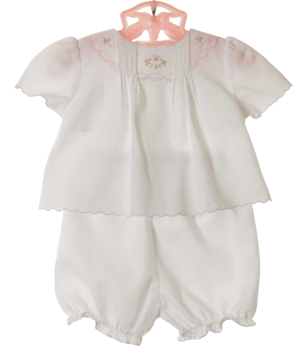 Petit Ami White Diaper Set With Pink Embroidery,white