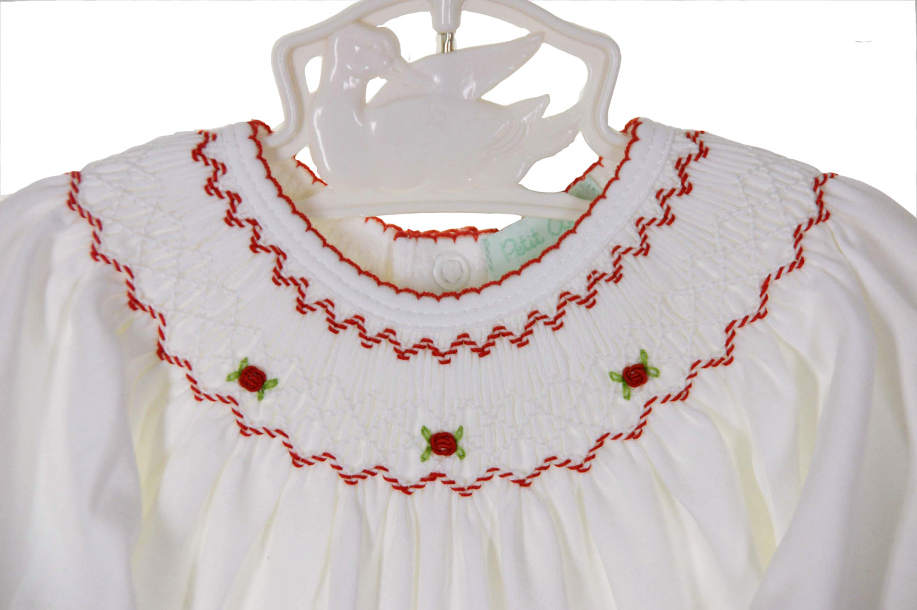 5d7a8504f91a NEW Petit Ami White Pina Cotton Knit Smocked Convertible Gown Romper and  Hat Set with Red Rosebud Embroidery