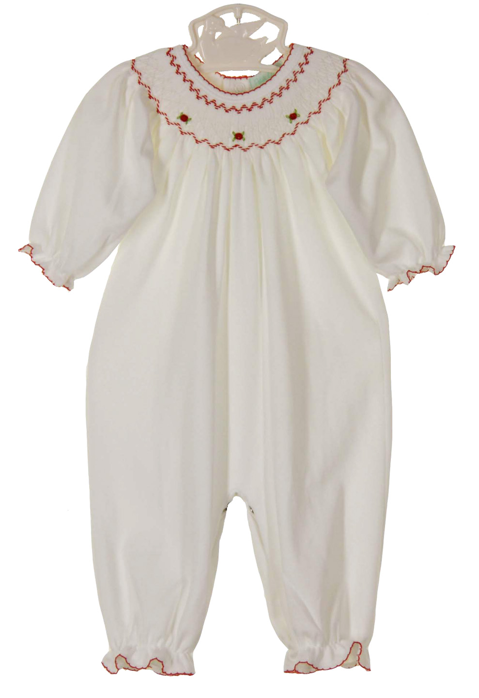 283fa4cc9552 Petit Ami white pima cotton smocked gown and hat set with red smocking