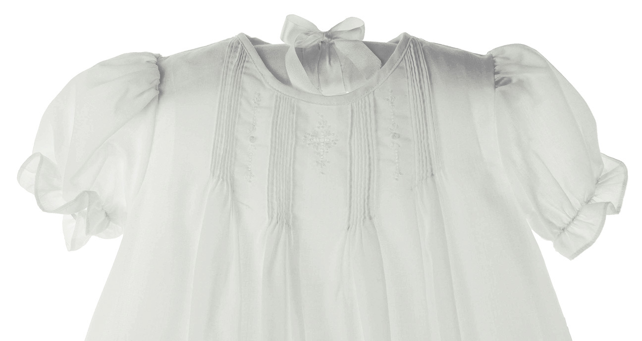 Petit Ami white christening gown with pin tucks and cross embroidery ...