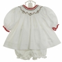 "<img src=""https://p11.secure.hostingprod.com/@grammies-attic.com/ssl/images/blue-sold-1.gif""> NEW Petit Ami White Twill Bishop Smocked Dress and Matching Diaper Cover with Holiday Embroidery"