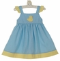 NEW Petit Bebe by Anavini Blue Checked Sundress with Yellow Checked Trim and Duck Applique
