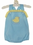 NEW Petit Bebe by Anavini Blue Checked Sunsuit with Yellow Checked Trim and Duck Applique