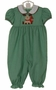 NEW Petit Bebe by Anavini Green Checked Long Bubble with Reindeer Applique