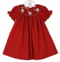 NEW Petit Bebe by Anavini Red Bishop Smocked Dress with Embroidered Santas