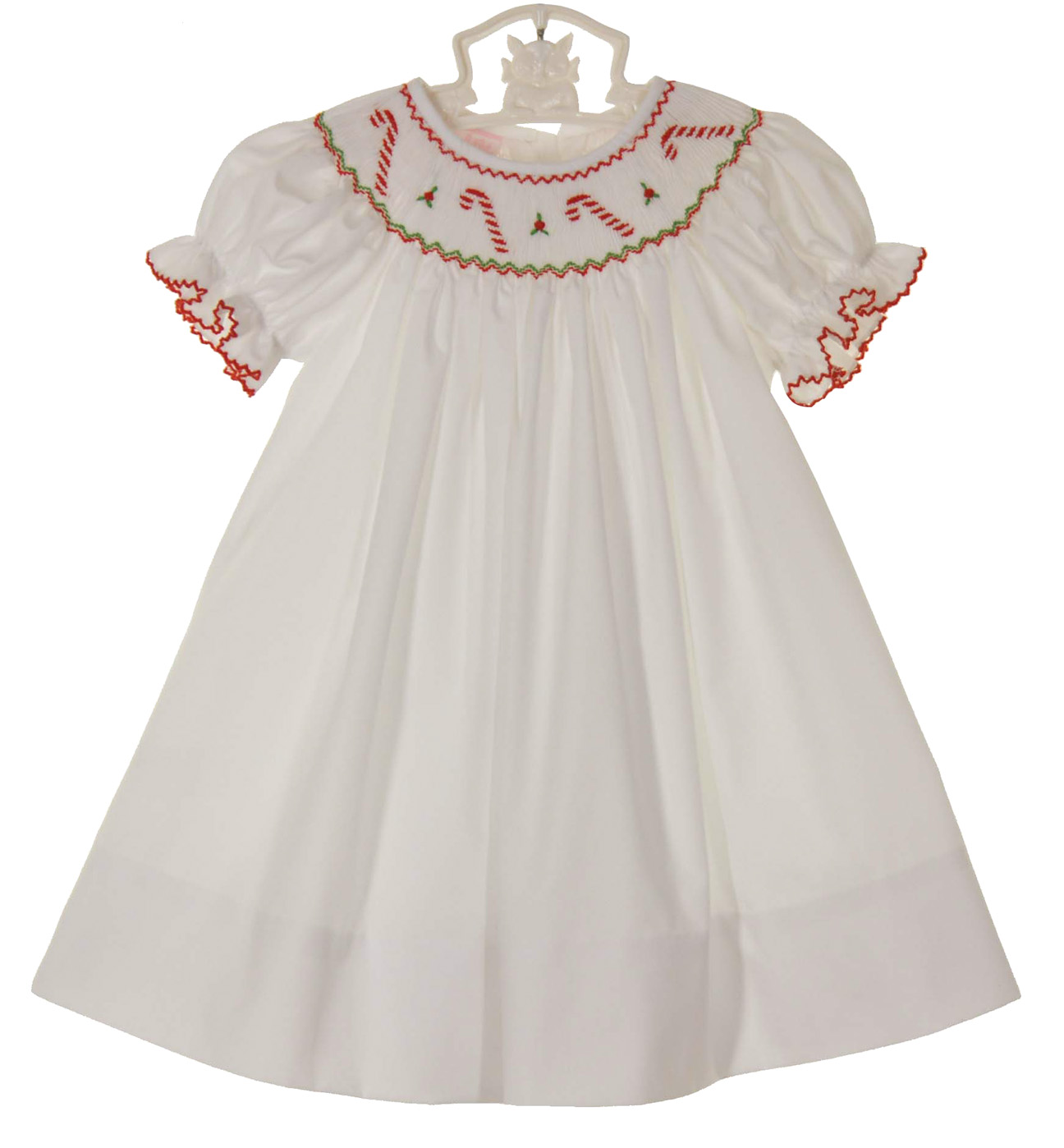 Petit Bebe By Anavini White Bishop Smocked Dress With