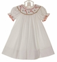 NEW Petit Bebe by Anavini White Bishop Smocked Dress with Embroidered Candy Canes