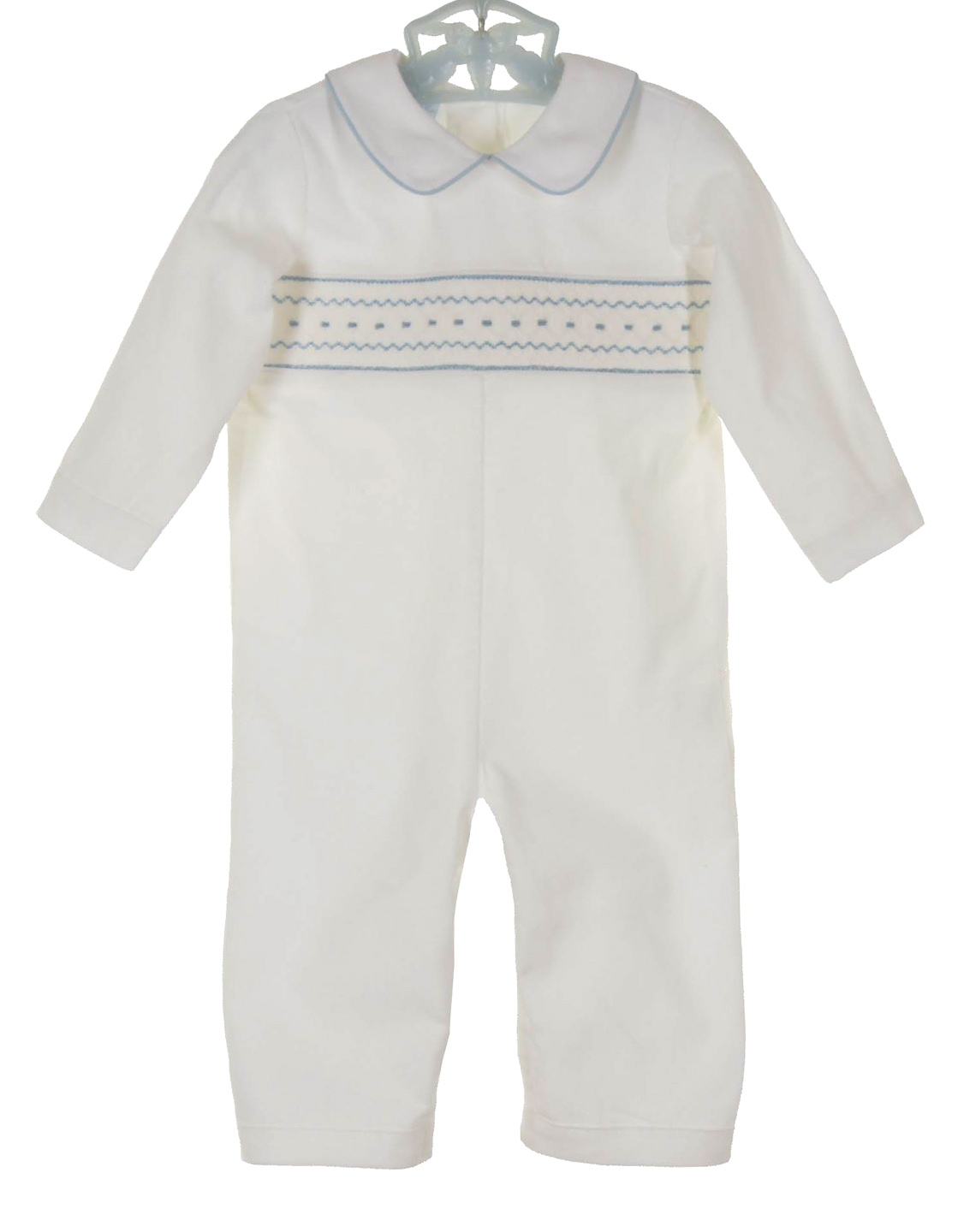 fc5a4076371e NEW Petit Bebe by Anavini White Cotton Corduroy Romper with Blue Smocking