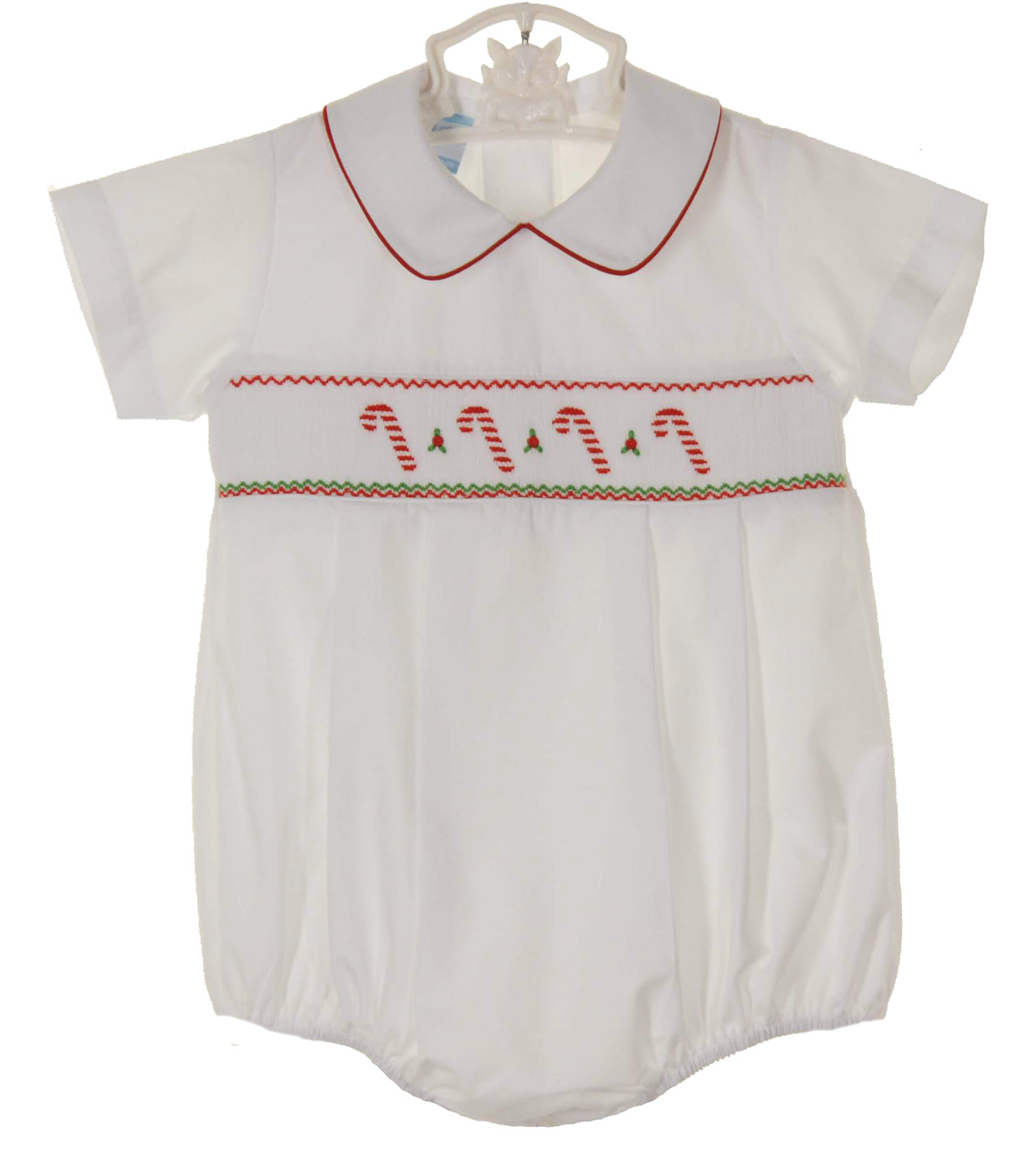 0822fe566e44 Petit Bebe by Anavini white smocked romper with candy cane embroidery