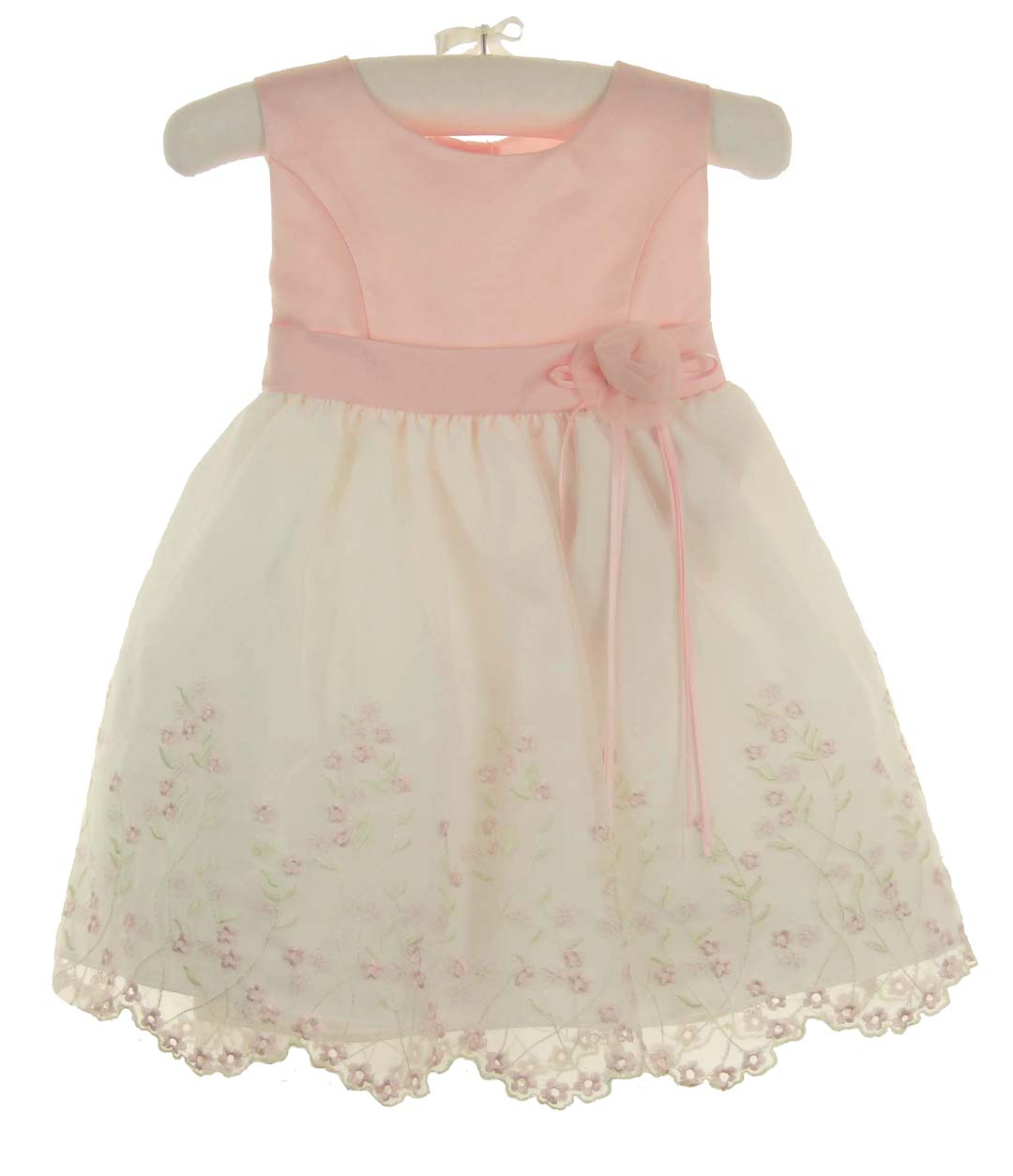 Pink Satin And Embroidered Organdy Baby Dresspink Satin Infant