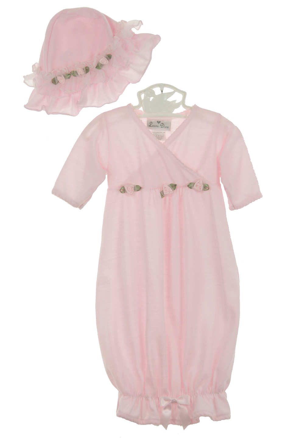 pink knit newborn gown and hat set with pink ribbon rosebuds,pink ...