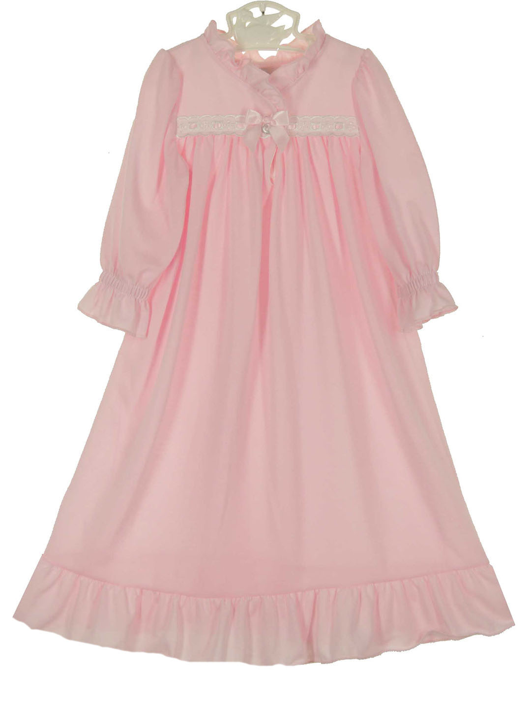 pink knit nightgown with pink ribbon,pink nightgown for baby girls ...