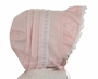 NEW Pink Pintucked Baby Bonnet with Pink and White Embroidered Trim