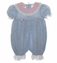 "<img src=""https://p11.secure.hostingprod.com/@grammies-attic.com/ssl/images/blue-sold-1.gif""> Polly Flinders Blue Chambray Romper with Pink Checked Collar and Pleat Inserts"