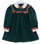 """<img src=""""http://site.grammies-attic.com/images/blue-sold-1.gif"""">  NEW Polly Flinders Green Cotton Corduroy Dress with Red Plaid Trim"""