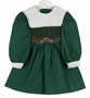 """<img src=""""http://site.grammies-attic.com/images/blue-sold-1.gif""""> NEW Polly Flinders Green Cotton Smocked Dress with Red Dots and White Portrait Collar"""