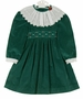 "<img src=""https://p11.secure.hostingprod.com/@grammies-attic.com/ssl/images/blue-sold-1.gif""> NEW Polly flinders Green Cotton Velvet Dress with White Scalloped Portrait Collar"