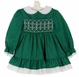 "<img src=""https://p11.secure.hostingprod.com/@grammies-attic.com/ssl/images/blue-sold-1.gif""> NEW Polly Flinders Green Dotted Smocked Dress with White Eyelet Trim"