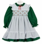 "<img src=""https://p11.secure.hostingprod.com/@grammies-attic.com/ssl/images/blue-sold-1.gif""> NEW Polly Flinders Green Dress and White Smocked Pinafore with White Eyelet Trim"