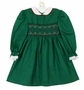 NEW Polly Flinders Green Smocked Dress with Red and White Embroidery