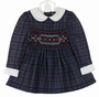 "<img src=""https://p11.secure.hostingprod.com/@grammies-attic.com/ssl/images/blue-sold-1.gif""> NEW Polly Flinders Navy Plaid Smocked Dress with White Collar and Cuffs"
