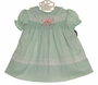 "<img src=""https://p11.secure.hostingprod.com/@grammies-attic.com/ssl/images/blue-sold-1.gif""> NEW Polly Flinders Pale Green Smocked Dress with Lace and Pink Ribbon Trim"