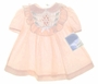 "<img src=""https://p11.secure.hostingprod.com/@grammies-attic.com/ssl/images/blue-sold-1.gif""> NEW Polly Flinders Peach Smocked Baby Dress with Ruffled Yoke"