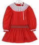 "<img src=""https://p11.secure.hostingprod.com/@grammies-attic.com/ssl/images/blue-sold-1.gif"">NEW Polly Flinders Red Dotted Dress with Smocked Drop Waist"
