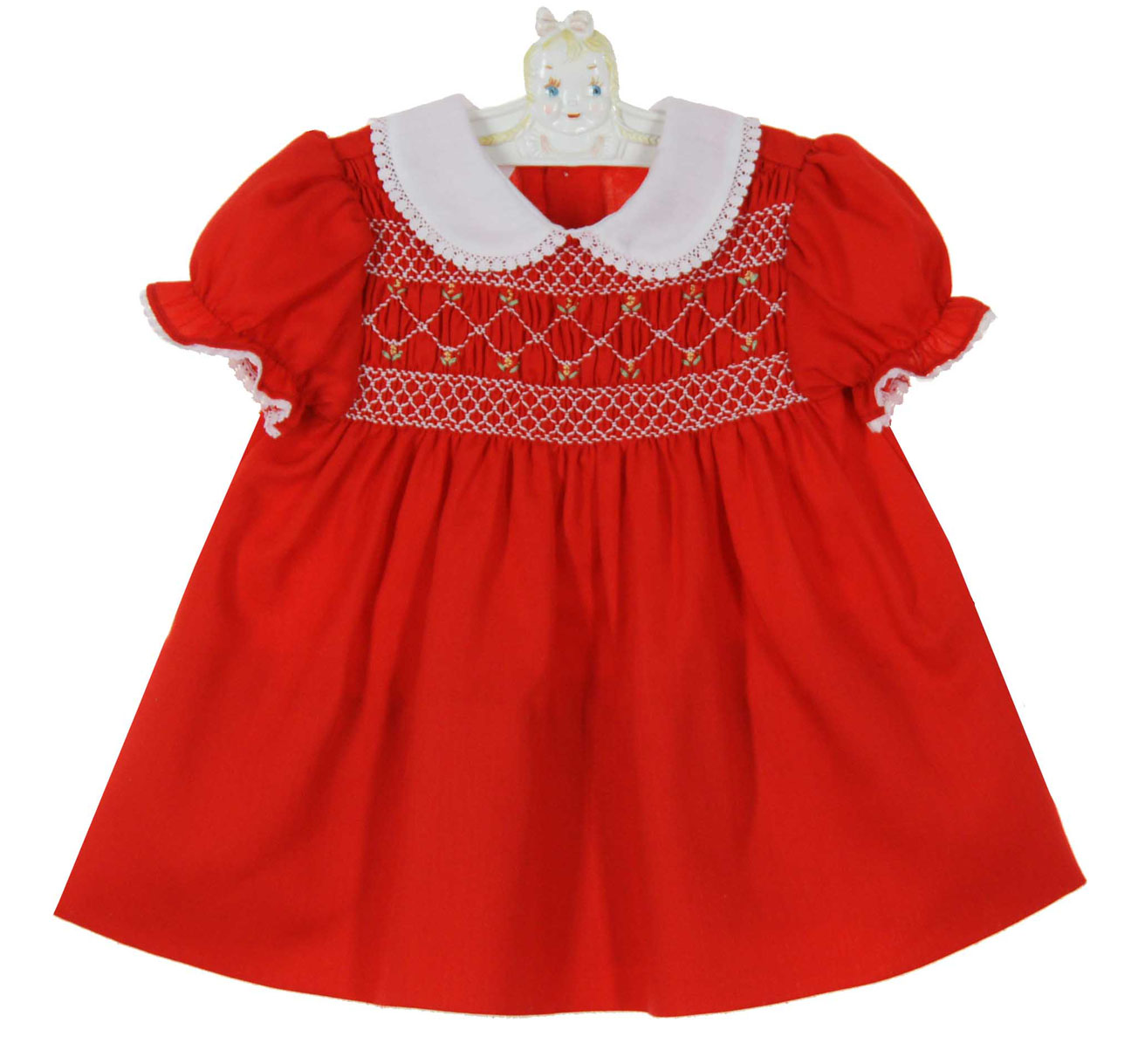 Polly Flinders Red Smocked Dress With White Lace Trimmed