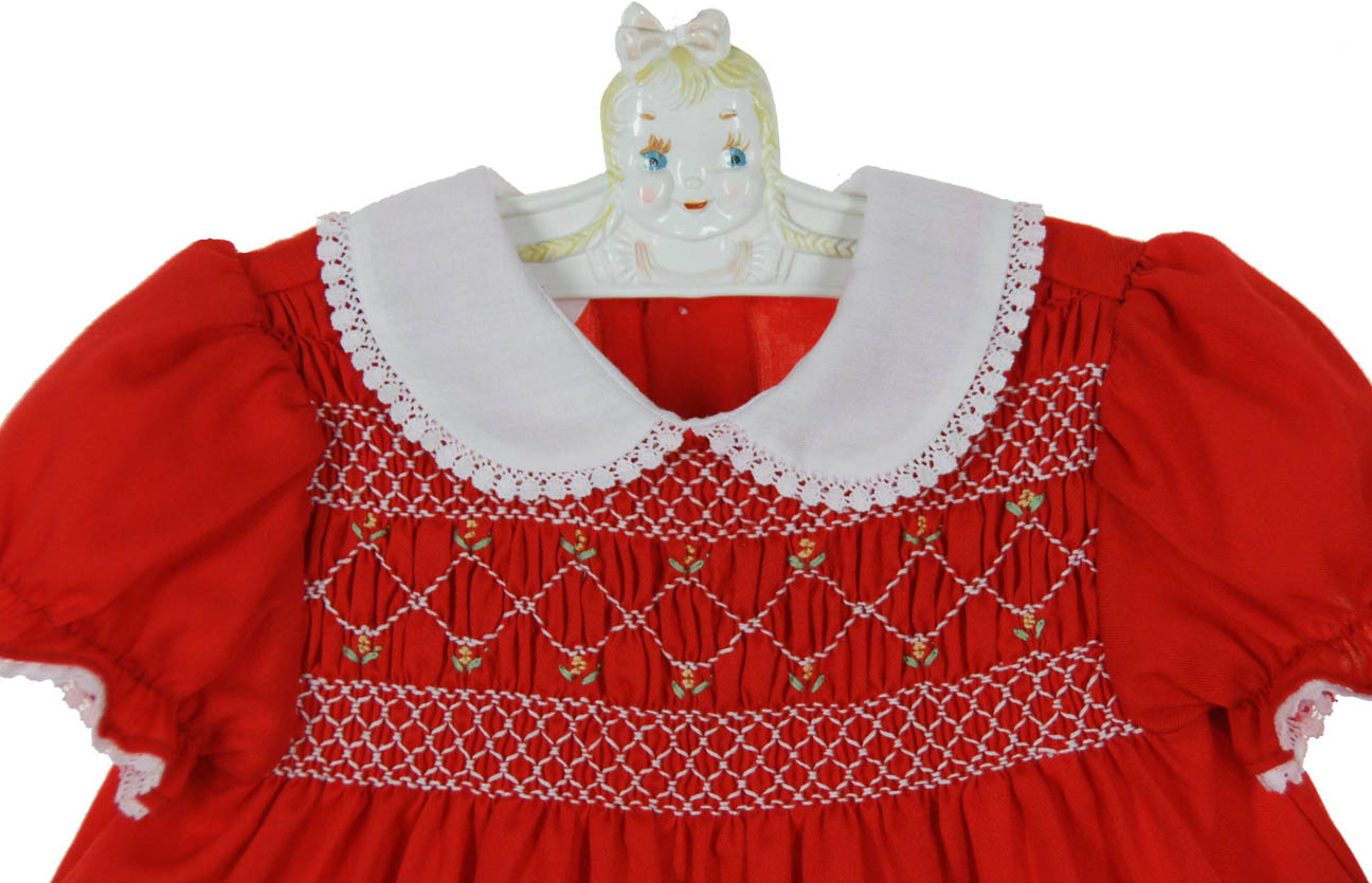 1ed1f7e6ca7b Polly Flinders red smocked dress with white lace trimmed collar ...