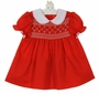"<img src=""https://p11.secure.hostingprod.com/@grammies-attic.com/ssl/images/blue-sold-1.gif""> NEW Polly Flinders Red Smocked Dress with White lace Trimmed Collar"