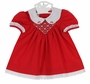 NEW Polly Flinders Red Smocked Dress with White Scalloped Embroidered Collar