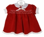 NEW Polly Flinders Red Velveteen Smocked Dress with White Eyelet Collar