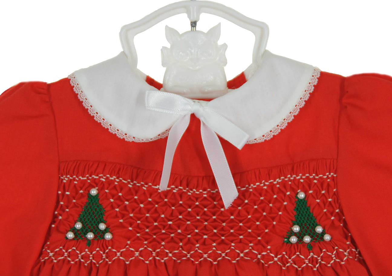 f680b6878a12 new Polly Flinders red smocked baby dress with white coaalr and Christmas  tree embroidery,new Polly Flinders red smocked Christmas dress for baby  girls,new ...