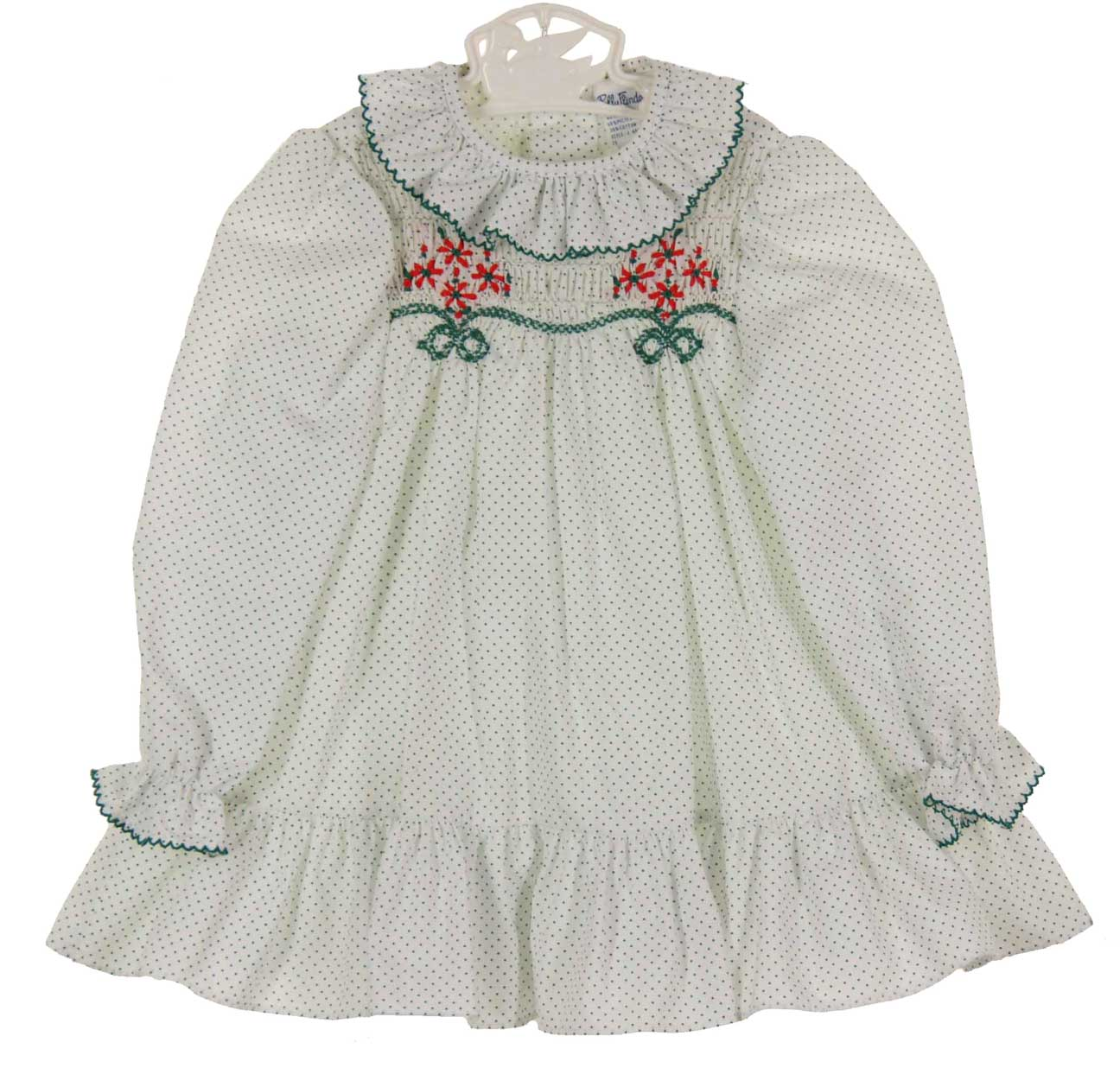 Polly Flinders White Dotted Smocked Dress With Red Flowerspolly