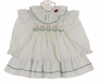 "<img src=""https://p11.secure.hostingprod.com/@grammies-attic.com/ssl/images/blue-sold-1.gif""> NEW Polly Flinders White Dress with Green Dots,Pinafore Sleeves, and Red Flowers"