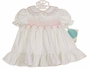 "<img src=""https://p11.secure.hostingprod.com/@grammies-attic.com/ssl/images/blue-sold-1.gif""> NEW Polly Flinders White Smocked Baby Dress with Pink Rosebud Print"