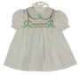 "<img src=""https://p11.secure.hostingprod.com/@grammies-attic.com/ssl/images/blue-sold-1.gif""> NEW Polly Flinders White Smocked Dress and Diaper Cover with Green Dots and Green Embroidered Bows"