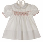 "<img src=""https://p11.secure.hostingprod.com/@grammies-attic.com/ssl/images/blue-sold-1.gif""> NEW Polly Flinders White Smocked Dress with Embroidered Red Flowers and Ivory Lace Trim"