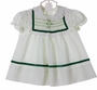 "<img src=""https://p11.secure.hostingprod.com/@grammies-attic.com/ssl/images/blue-sold-1.gif""> NEW Polly Flinders White Smocked Dress with Green Dots and Green Velvet Ribbon Trim"