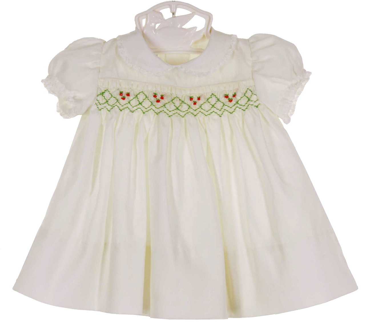 Polly Flinders white smocked Christmas dress for baby