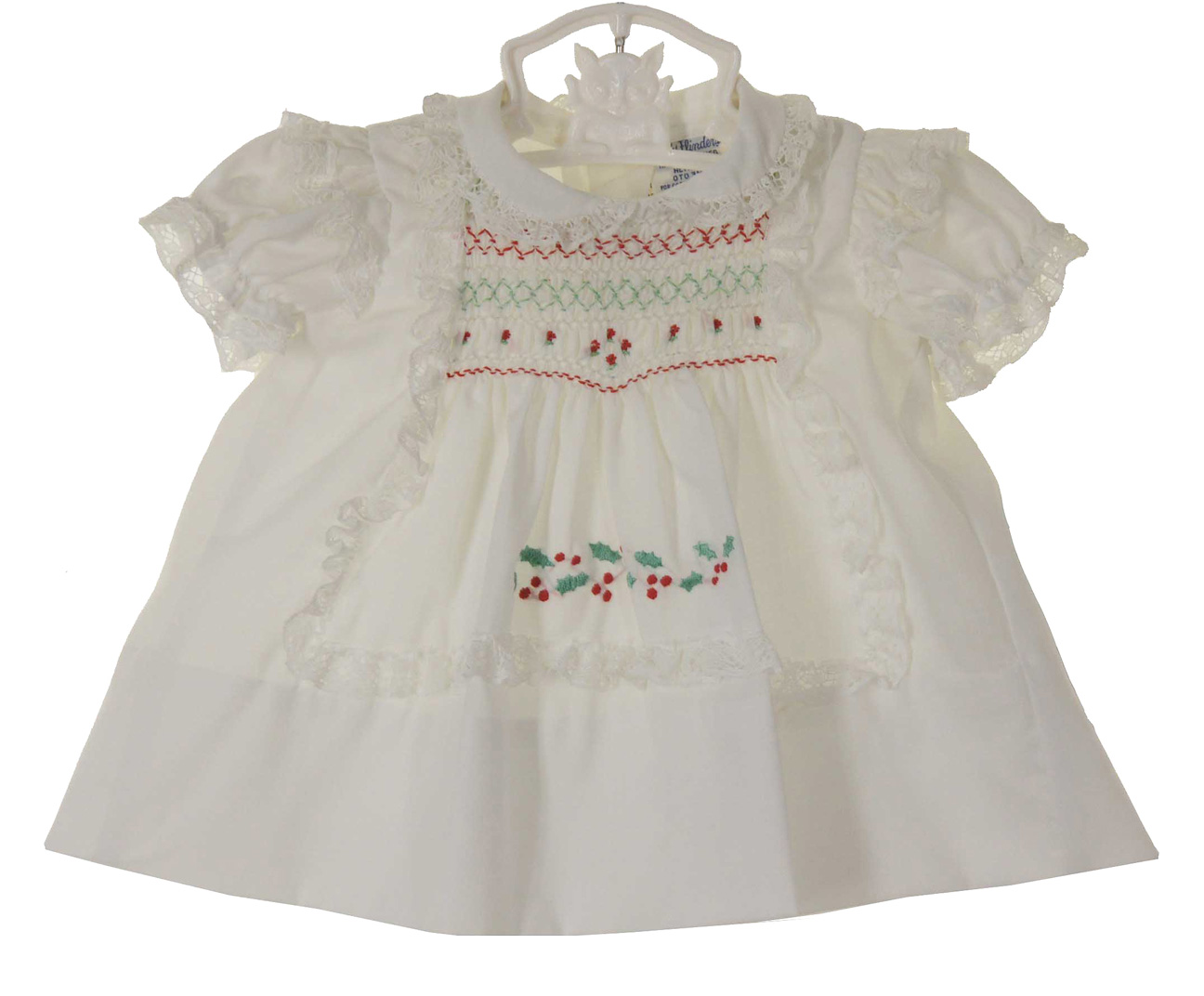 New Polly Flinders White Smocked Baby Dress With Holly