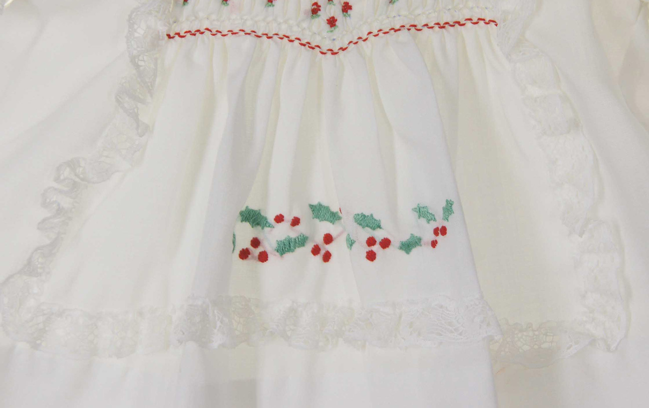 new Polly Flinders white smocked baby dress with holly embroidery ...