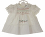 NEW Polly Flinders White Smocked Dress with Holly Embroidery and White Lace Trim