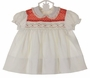 "<img src=""http://site.grammies-attic.com/images/blue-sold-1.gif""> NEW Polly Flinders White Smocked Dress with Red Dotted Yoke and Ivory Lace Trimmed Collar"