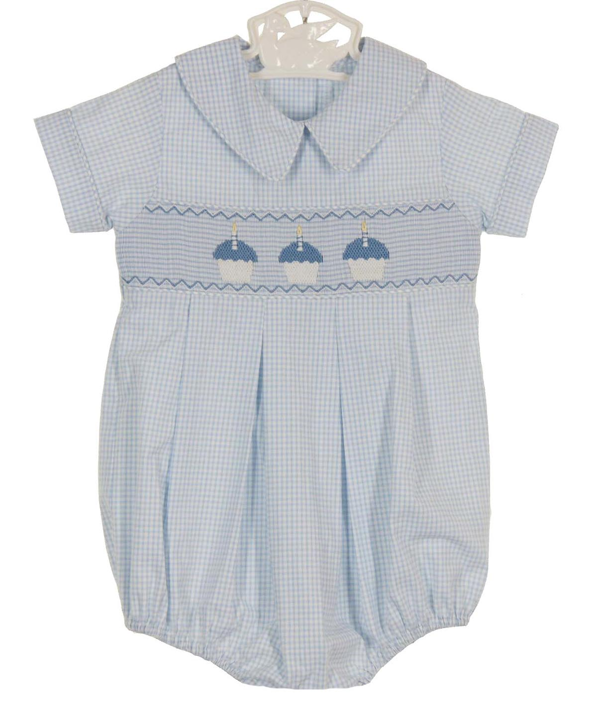 Precious Kids blue checked smocked romper with embroidered ...